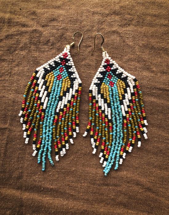 5 elements seed bead earrings