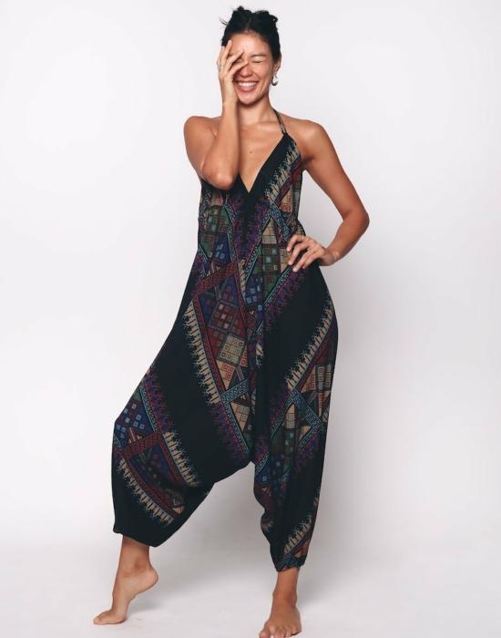 Elana Jumpsuit   Black Tribal