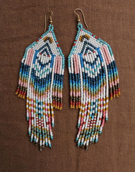 rainbow serpent seed bead earrings