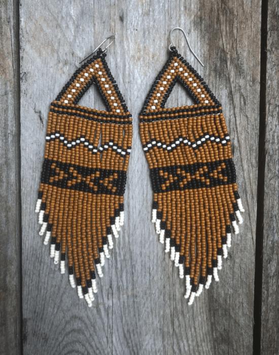 Woodland seed bead earrings