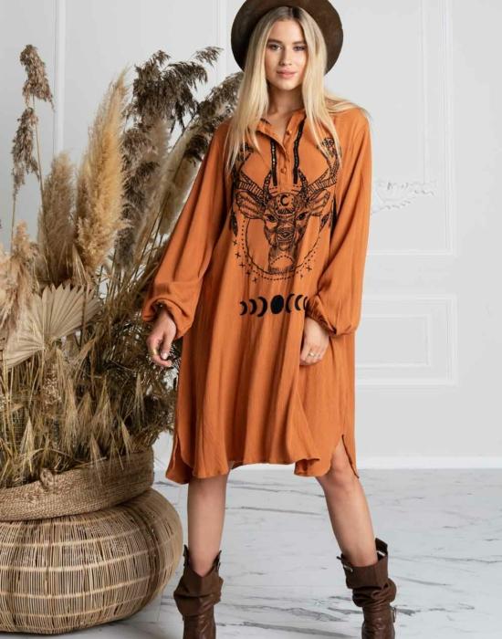 MAGICAL FOREST SHIRT DRESS (CARAMEL)