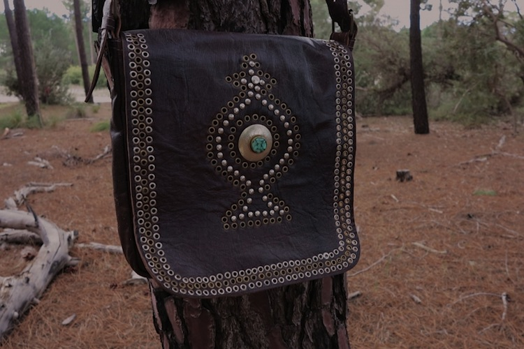the Boho Bazaar - leather bag with turquoise stone