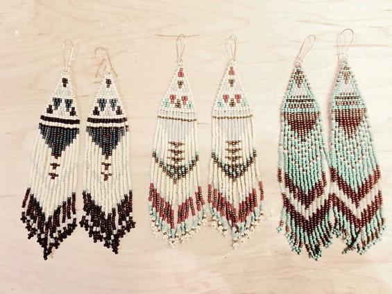 Serpentine and Fair - beaded earrings
